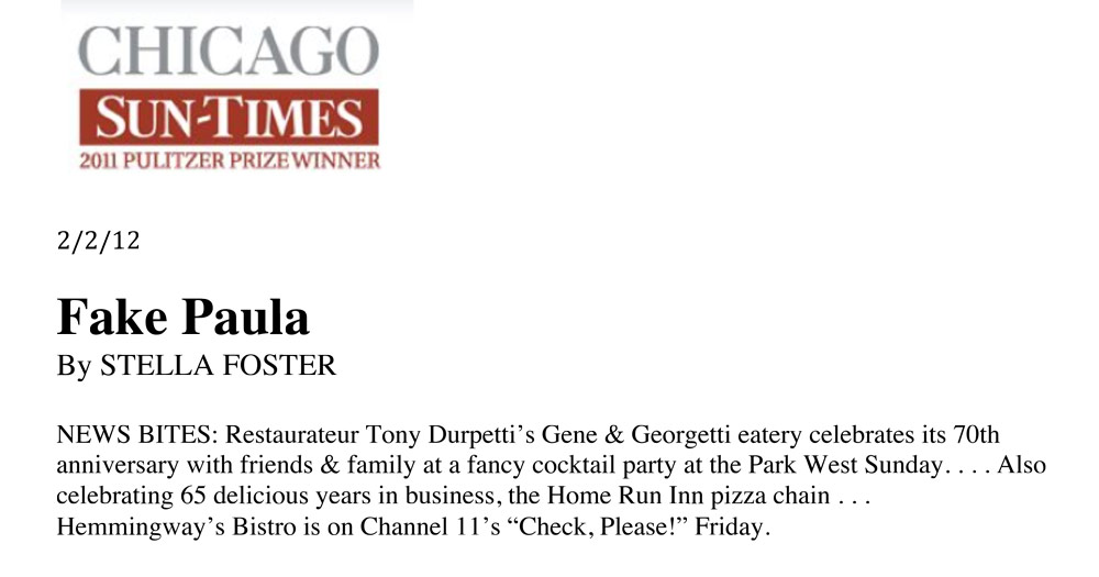 Chicago Sun Times : News Bites - Gene And Georgetti
