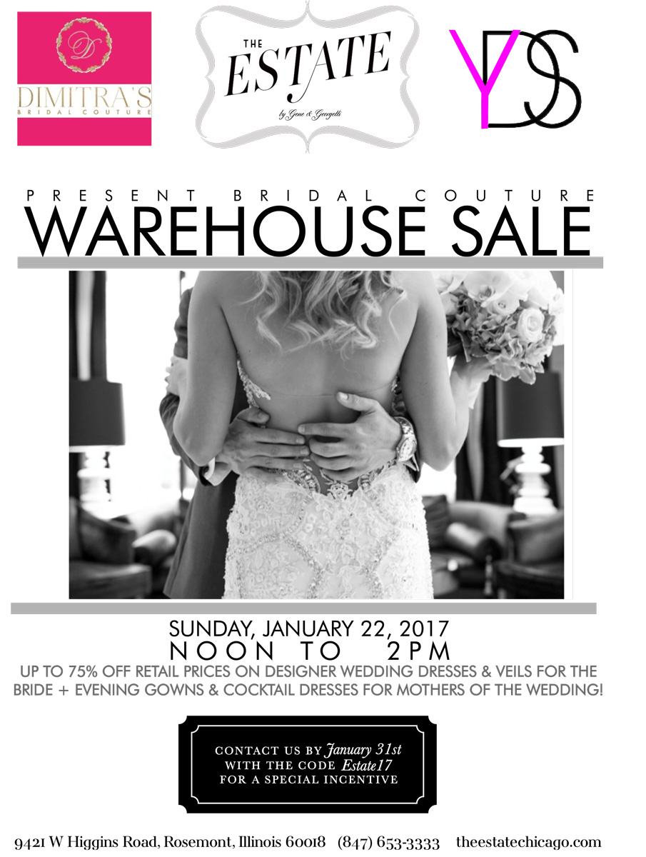 bridal gown warehouse at our event venue the estate gene contact info estatechicago com for more info
