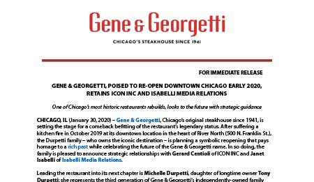 Gene & Georgetti, Poised To Re-Open Downtown Chicago Early 2020, Retains Icon Inc And Isabelli Media Relations